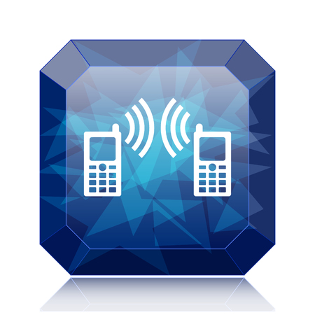 palmtop: Communication icon, blue website button on white background. Stock Photo