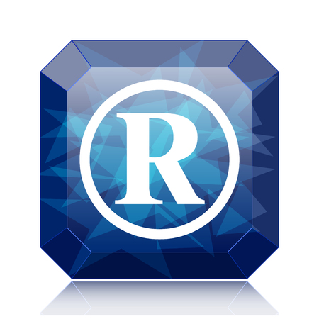 Registered mark icon, blue website button on white background. Stock Photo