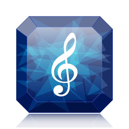 Musical note icon, blue website button on white background. Stock Photo