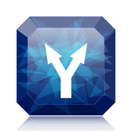 Split arrow icon, blue website button on white background.