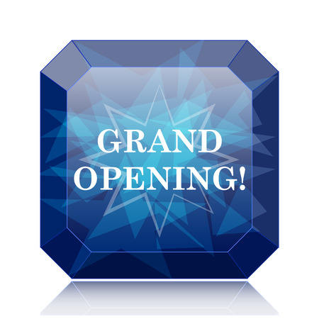 grand sale button: Grand opening icon, blue website button on white background. Stock Photo