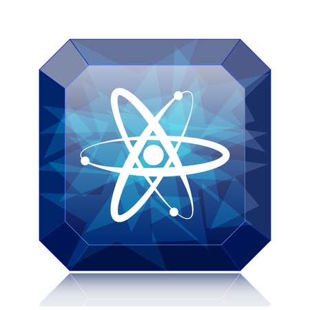 gamma radiation: Atoms icon, blue website button on white background. Stock Photo