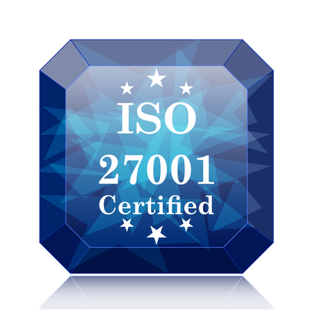 certify: ISO 27001 icon, blue website button on white background. Stock Photo