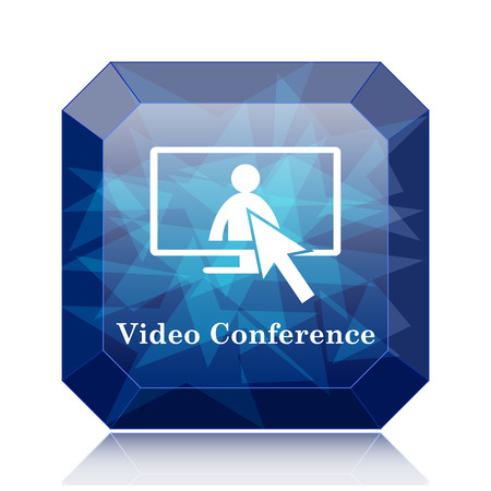 human resource affairs: Video conference, online meeting icon, blue website button on white background. Stock Photo