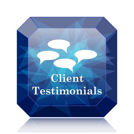 authenticate: Client testimonials icon, blue website button on white background.