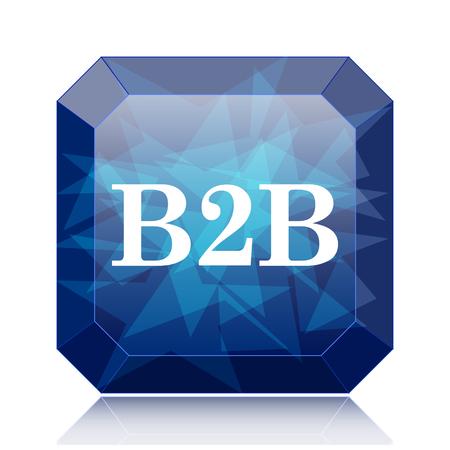 b2b: B2B icon, blue website button on white background. Stock Photo