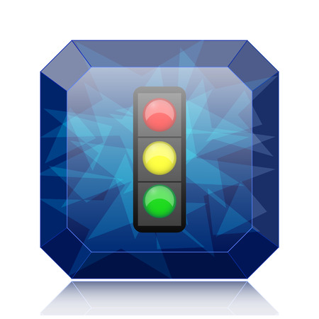 Traffic light icon, blue website button on white background.