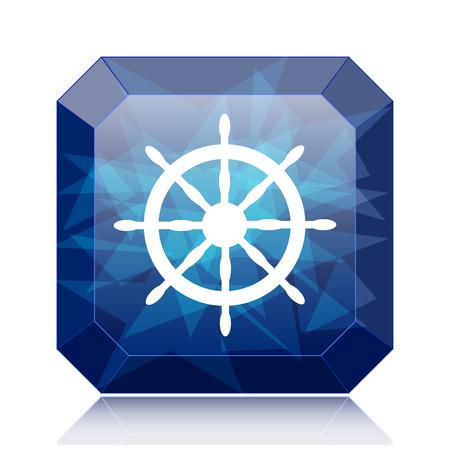 Nautical wheel icon, blue website button on white background.