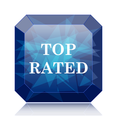 rated: Top rated  icon, blue website button on white background.