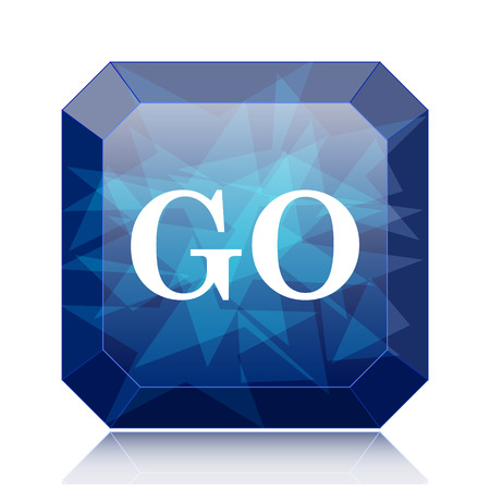 proceed: GO icon, blue website button on white background. Stock Photo