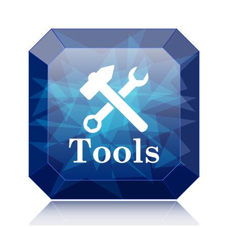 Tools icon, blue website button on white background. Stock Photo