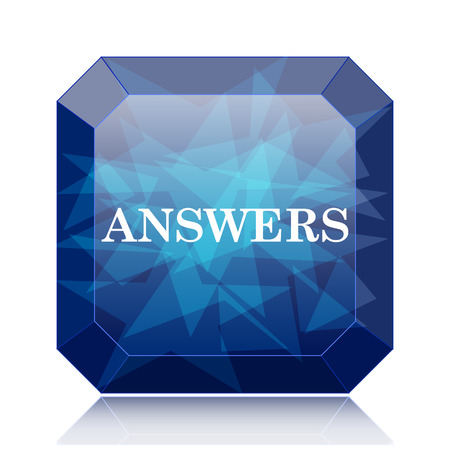 answers: Answers icon, blue website button on white background. Stock Photo