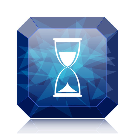 Hourglass icon, blue website button on white background.