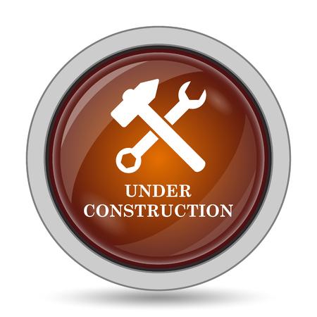 under construction icon: Under construction icon, orange website button on white background.