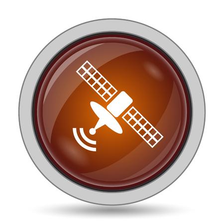 tv tower: Antenna icon, orange website button on white background. Stock Photo