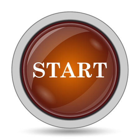 Start icon, orange website button on white background. Stock Photo