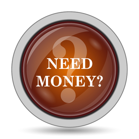 trading questions: Need money icon, orange website button on white background. Stock Photo