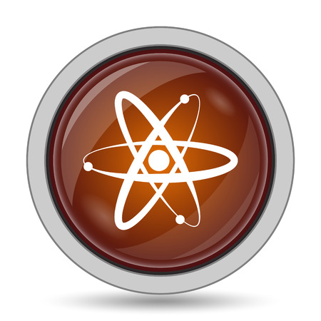 gamma radiation: Atoms icon, orange website button on white background.