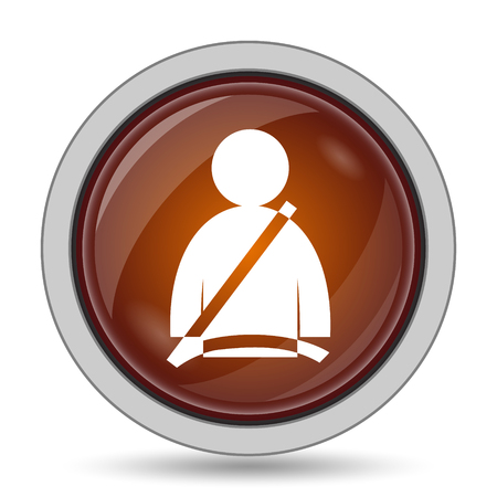 Safety belt icon, orange website button on white background. Stock Photo