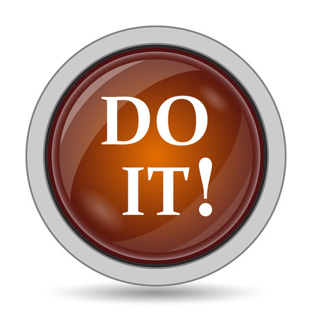 Do it icon, orange website button on white background.