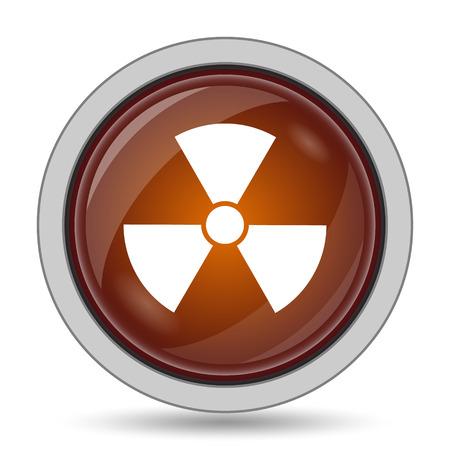 caution chemistry: Radiation icon, orange website button on white background.