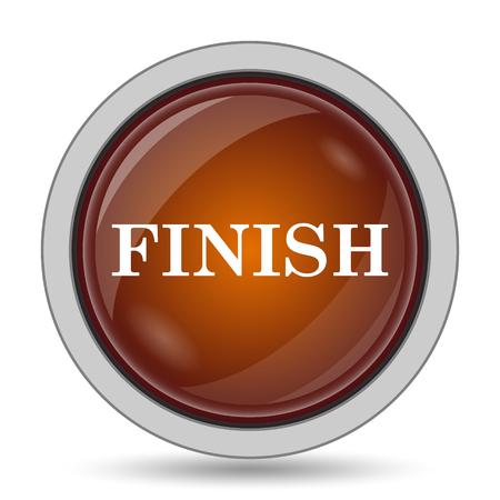 abort: Finish icon, orange website button on white background.