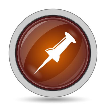 fixation: Pin icon, orange website button on white background. Stock Photo