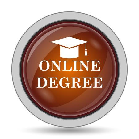 online degree: Online degree icon, orange website button on white background.
