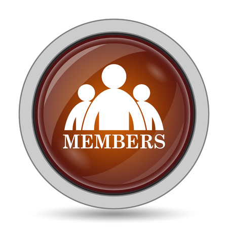 join here: Members icon, orange website button on white background.
