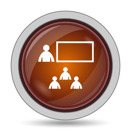 stage coach: Presenting icon, orange website button on white background.