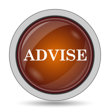 advise: Advise icon, orange website button on white background.