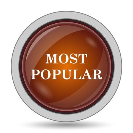 most popular: Most popular icon, orange website button on white background.