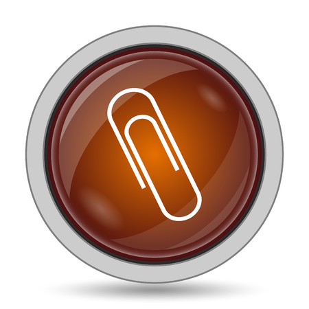 Paperclip icon, orange website button on white background.
