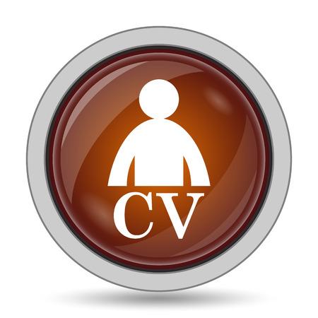 CV icon, orange website button on white background.
