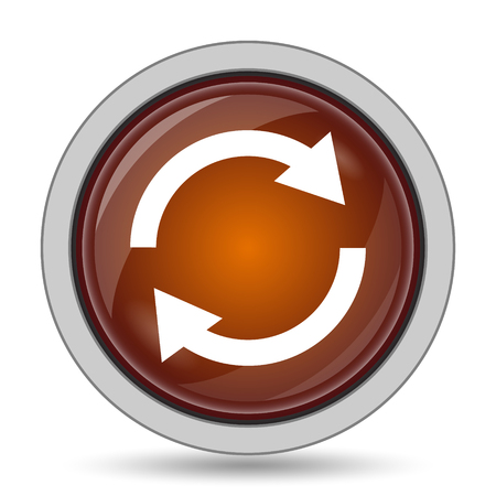 restore: Reload two arrows icon, orange website button on white background.
