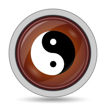 ying: Ying yang icon, orange website button on white background.