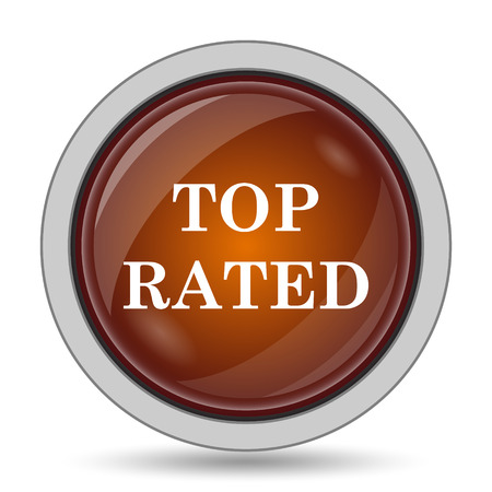 rated: Top rated  icon, orange website button on white background.