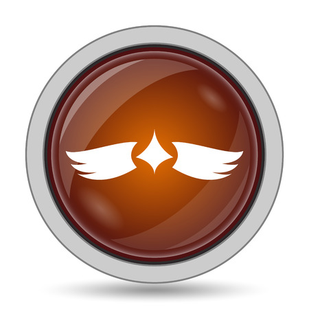 pacification: Wings icon, orange website button on white background.