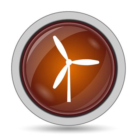 alternate: Windmill icon, orange website button on white background. Stock Photo