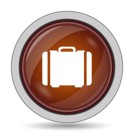 valise: Suitcase icon, orange website button on white background.