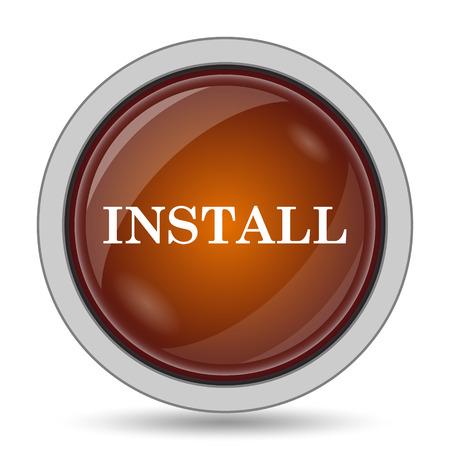 operative system: Install icon, orange website button on white background.