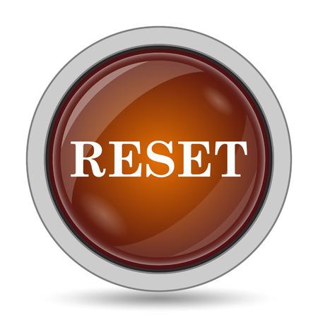 revise: Reset icon, orange website button on white background. Stock Photo