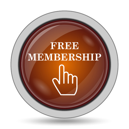 subscriber: Free membership icon, orange website button on white background.