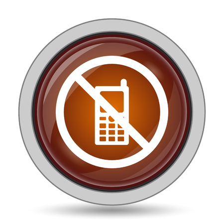 use regulation: Mobile phone restricted icon, orange website button on white background. Stock Photo