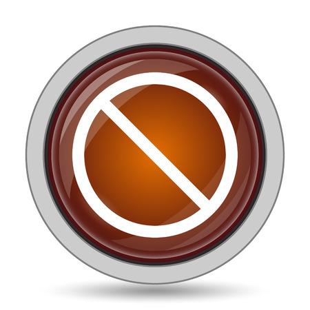 금지 된 아이콘, 흰색 배경에 오렌지 웹 사이트 단추. 스톡 콘텐츠