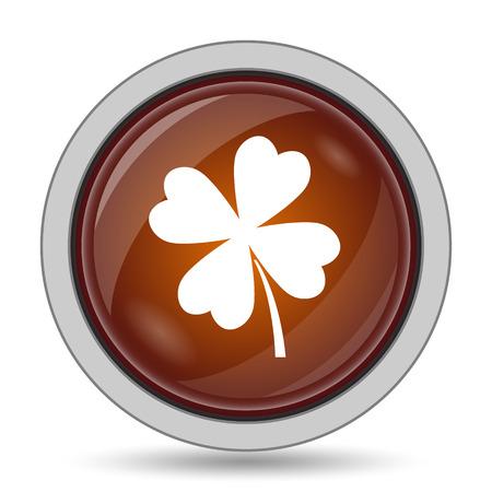 Clover icon, orange website button on white background.