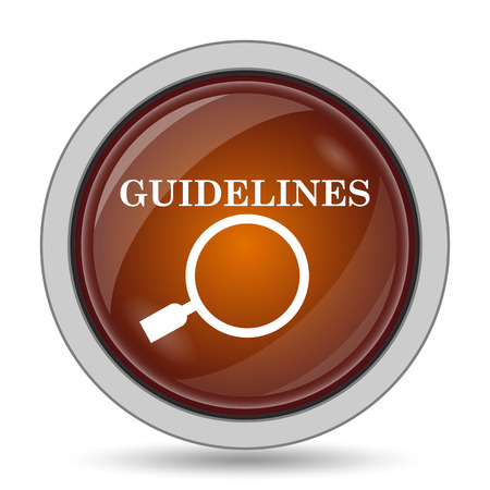specification: Guidelines icon, orange website button on white background.