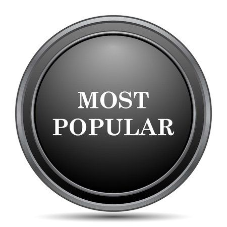 most popular: Most popular icon, black website button on white background.