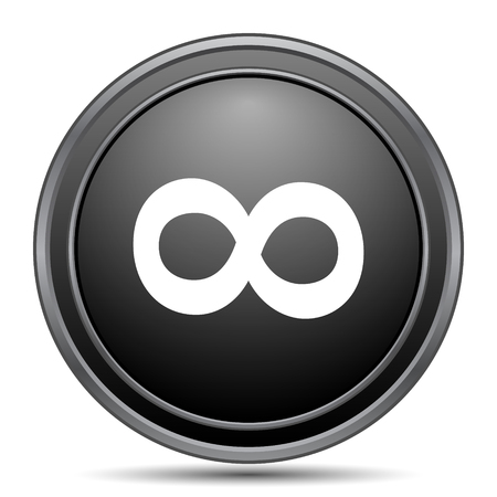 infinity sign: Infinity sign icon, black website button on white background. Stock Photo