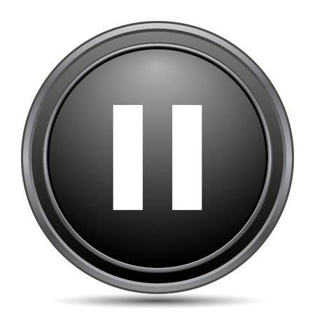 pause icon: Pause icon, black website button on white background. Stock Photo